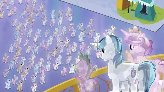 File:Crystal Spike, Shining Armor and Cadance overlooking Crystal Ponies S3E2.png