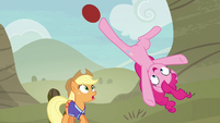 Pinkie Pie bucks the ball with mid-air kick S6E18