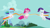 Rainbow, Pinkie, and Rarity using Elements S03E10