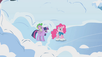 Twilight, Pinkie, and Spike by the lake S1E11