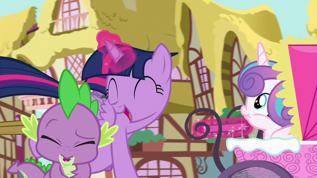 """File:Twilight yells """"best aunt ever!"""" in Spike's ears S7E3.png"""