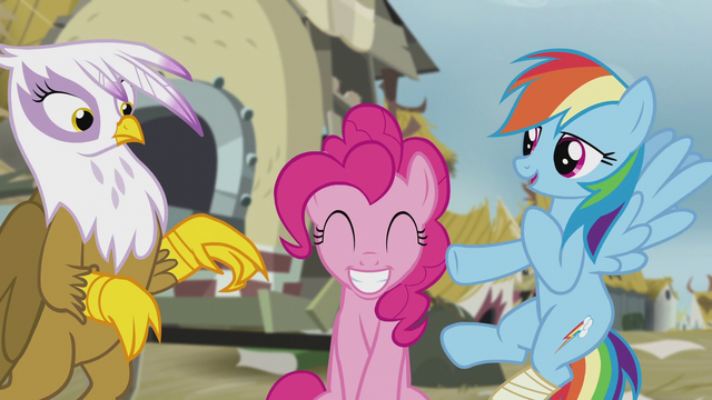 File:Gilda, Pinkie, and Rainbow are friends now S5E8.png