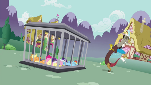 File:Main cast's cage put back onto the ground S4E26.png