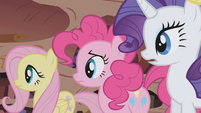 Fluttershy, Pinkie, and Rarity side by side S1E02