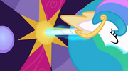 Princess Celestia uses her horn as a key S02E01