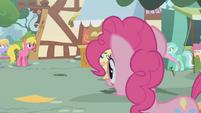 Surprised ponies watching Fluttershy run away S01E05