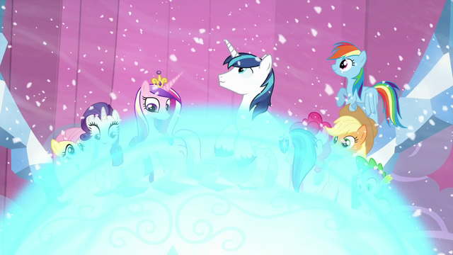 File:Twilight's friends, Cadance, and Shining Armor about to get crystallized S6E2.png