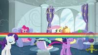 Rainbow Dash zips past her friends S6E7