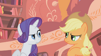 Rarity and Applejack after clinging again S01E08