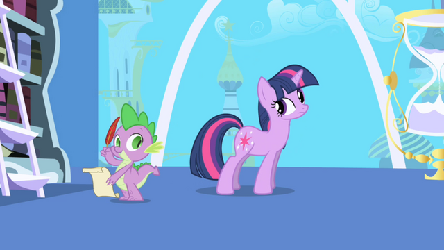 Файл:Spike ready with parchment and quill S1E01.png
