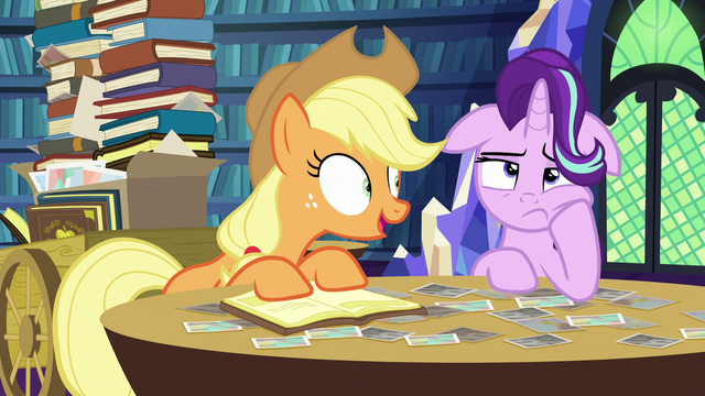 "File:Applejack ""so Goldie Delicious says"" S6E21.png"