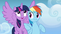 Rainbow Dash nudging Twilight with her elbow S6E24.png