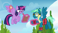 Sky Stinger wearing weighted hoof braces S6E24.png