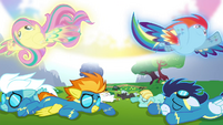 Fluttershy and Rainbow returning Pegasi magic S4E26