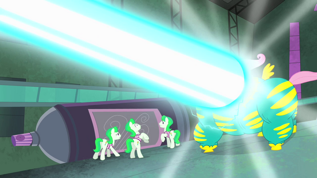 File:Saddle Rager blasted with Mane-iac's weapon S4E06.png