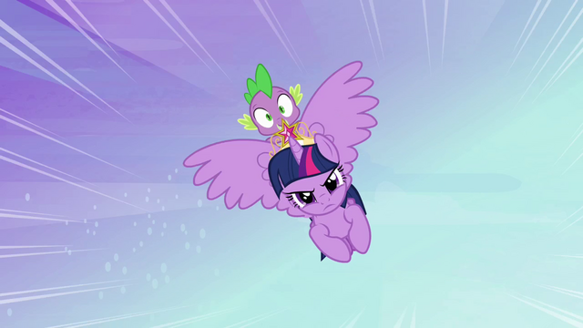 File:Twilight and Spike flying to Ponyville S4E01.png