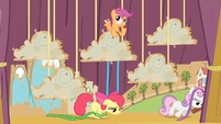 Apple Bloom and Sweetie Belle walks to the right S4E05