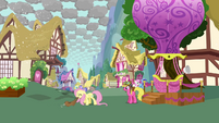 Fluttershy about to leave Ponyville S03E13