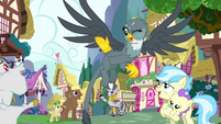 Gabby waving to the ponies she helped S6E19