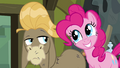 """Pinkie Pie smiles widely at Cranky """"like me?"""" S02E18.png"""
