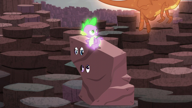 File:Spike sees a dragon while Twilight talks to Rarity S6E5.png