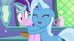 Trixie tightly hugging Starlight Glimmer S7E2