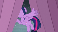 Twilight looks out of the curtains S6E2