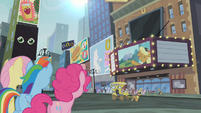 Fluttershy, Rainbow and Pinkie looking at the theatre S4E08