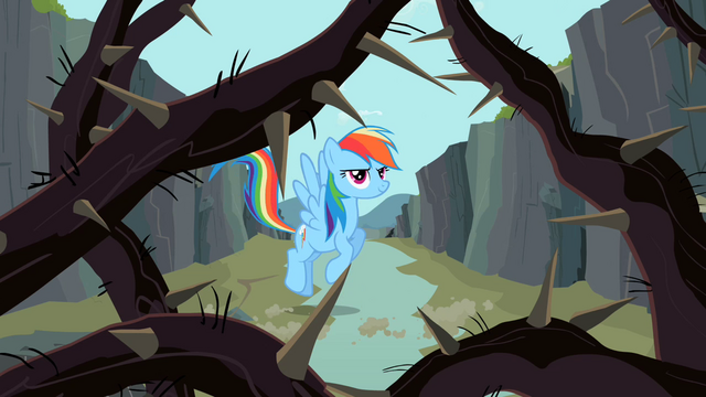 File:Rainbow Dash looking at the thorny vines S2E07.png