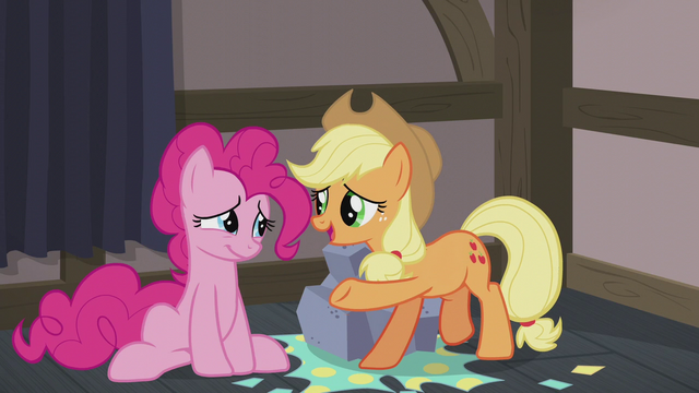 File:AJ wishing Pinkie a happy Hearth's Warming S5E20.png
