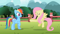 Fluttershy showing bunny to Rainbow Dash S2E07