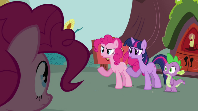 File:Pinkie Pie clone mimicking Twilight S3E03.png