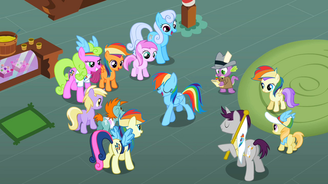 File:The ponies are admiring Rainbow Dash S2E08.png