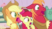AJ, Apple Bloom, and Big Mac gasp in horror S7E13