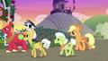 AJ, Mac, Granny, and Grand Pear follow Apple Bloom S7E13.png