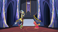 Discord and Big McIntosh standing in silence S6E17