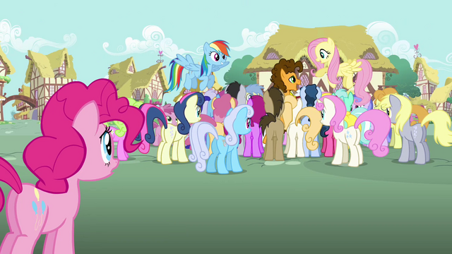File:Pinkie Pie sees many ponies surrounding Cheese S4E12.png