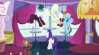 Rainbow explains why she's in Canterlot; Rarity continues adjusting hat S5E15