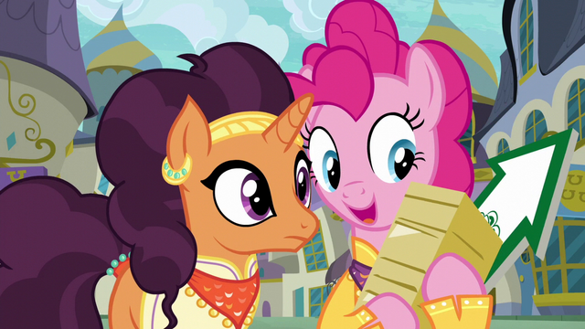 File:Pinkie holding flyers and arrow sign S6E12.png