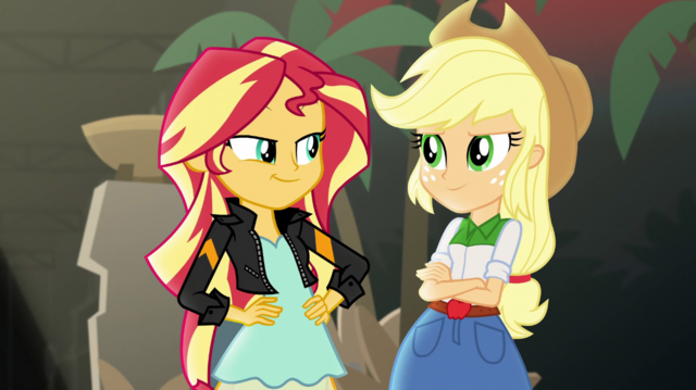 File:Sunset Shimmer and Applejack smirking EGS2.png
