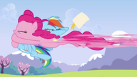 Pinkie Pie rocketing into Rainbow S3E7