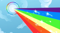 Rainbow Dash doing a sonic rainboom 3 S1E16