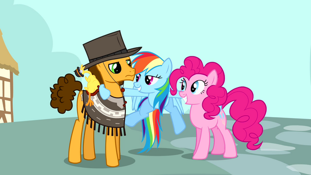 File:Rainbow Dash with Pinkie and Cheese Sandwich S4E12.png