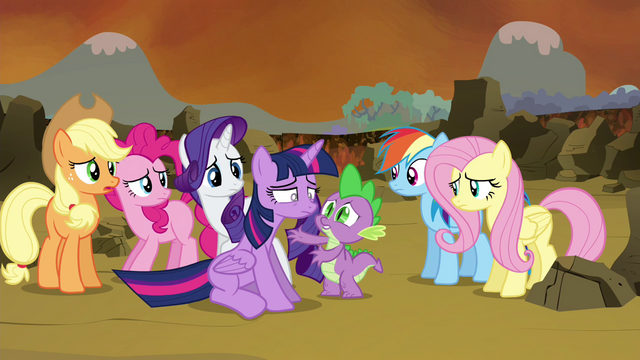 File:Twilight's friends gathering around Twilight S4E26.png