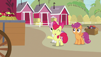 Apple Bloom waving goodbye to Big McIntosh S7E8
