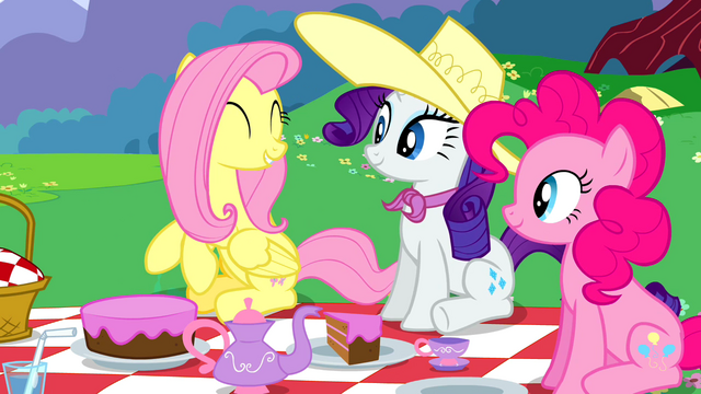 File:Fluttershy Rarity and Pinkie smiling at picnic S2E25.png
