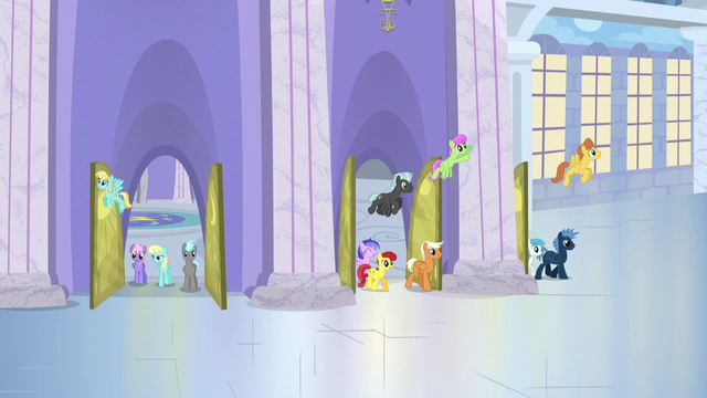 File:Ponies leaving the factory for lunch hour S5E5.png