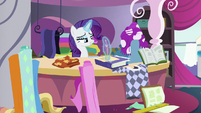 Rarity calmly sketching dress designs S7E6