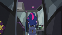 Twilight boarding the bus to Canterlot High EG3