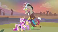 Discord rubbing Twilight's mane S4E11